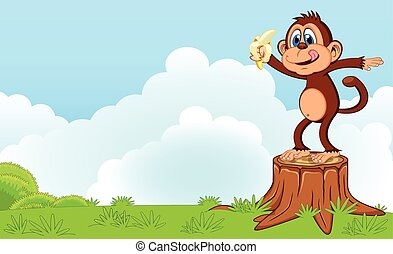 Monkey eat banana cartoon