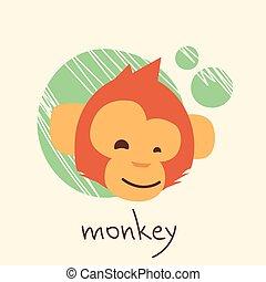 Monkey Face Cartoon Head Drawing Flat