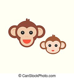 Monkey face set, mommy and baby