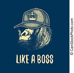 Monkey Face With Like A Boss Inscription