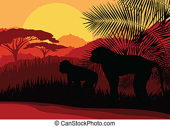 Monkey family in Africa wild nature mountain landscape background illustration vector