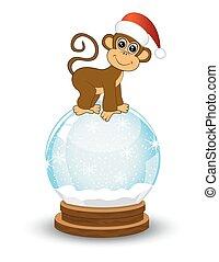 Monkey festive glass ball