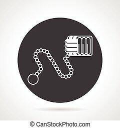 Monkey fist black round vector icon