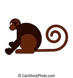 Monkey flat style vector illustration.
