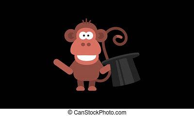 Monkey Funny Animal Character Chinese Horoscope. Motion graphics. Transparent background.