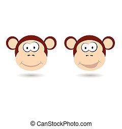 monkey funny face vector illustration