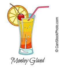 Monkey gland cocktail with red straw and slice of orange - ...