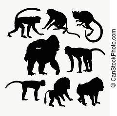 Monkey, gorilla, and baboon animal silhouette