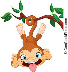 Monkey hamming - Cute baby monkey hamming on a tree. Perfect...