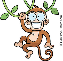 Monkey Hanging - A cartoon monkey hanging from vines and...