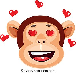 Monkey happy face with hearts, illustration, vector on white background.