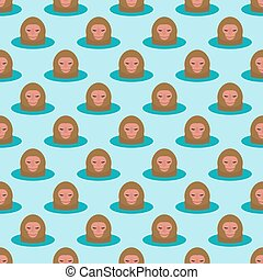 Monkey head character seamless pattern background animal wild zoo ape chimpanzee vector illustration.