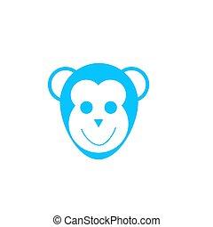 Monkey head icon flat.