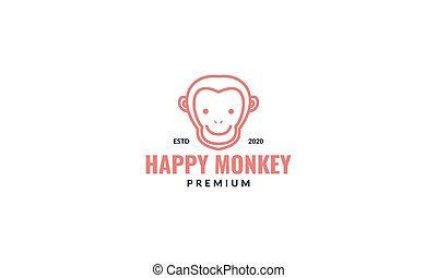 Monkey head line cute smile logo design