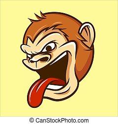 Monkey Head Mascot Illustration Vector in Cartoon Style