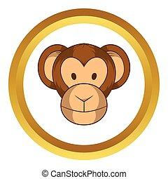 Monkey head vector icon, cartoon style
