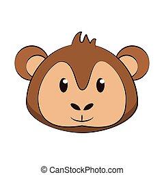 Monkey head wildlife cute animal cartoon