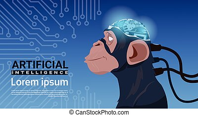 Monkey Head With Modern Cyborg Brain Over Circuit Motherboard Background Artificial Intelligence Concept