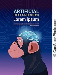 Monkey Head With Modern Cyborg Brain Over Circuit Motherboard Background Vertical Banner Artificial Intelligence Concept
