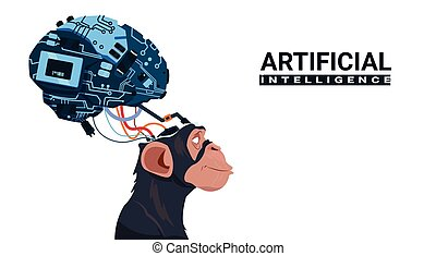 Monkey Head With Modern Cyborg Brain Over White Background Artificial Intelligence Concept