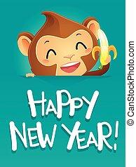Monkey holding a Banana Celebrating