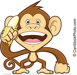 Monkey holding a banana