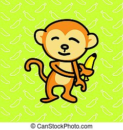 Monkey holding a banana vector illustration.