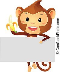 Monkey Holding a Banner and banana