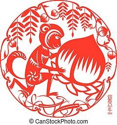 Monkey holds a big peach illustrati