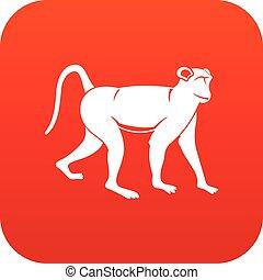 Monkey icon digital red