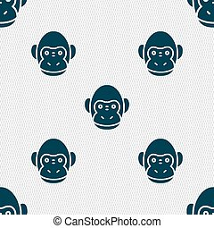 Monkey icon sign. Seamless pattern with geometric texture. Vector