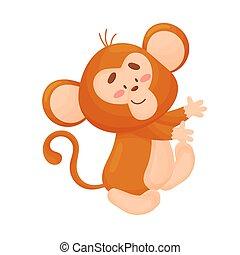 monkey., illustration, arrière-plan., vecteur, blanc, humanized, dessin animé