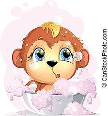 monkey awash basin with foam on a white background