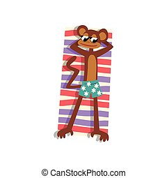 Monkey in sunglasses sunbathing on the beach, cute animal cartoon character relaxing on the seashore at summer vacation vector Illustration on a white background
