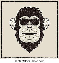Monkey in sunglasses vector grunge t-shirt printing design