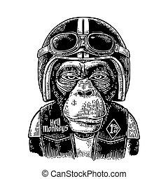 Monkey in the motorcycle helmet and glasses. Vintage black...