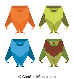 Monkey in the style of origami