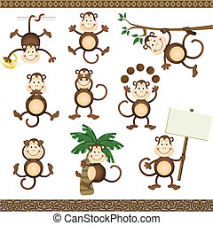 Monkey in varying positions - Scalable vectorial image...