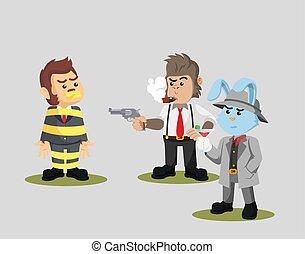 monkey is a mafia prisoner vector illustration
