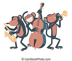 Monkey jazz trio.