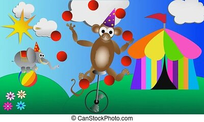monkey juggling balls and circus elephant balancing on a big...