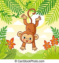 Monkey jumping on the trees. Cute animal in a cartoon style.