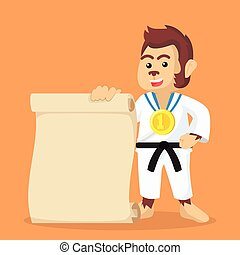 monkey karate champ holding paper