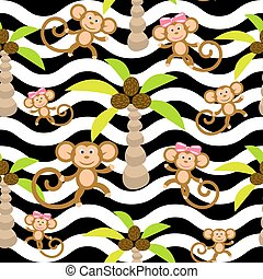 Monkey kid seamless vector pattern for textile print.