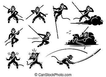 Monkey King or Sun Wukong characters icon set.