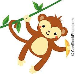 monkey., lindo, estilo, ahorcadura, kawaii, mono tití, liana, tenencia, africano, banana., animal., caricatura