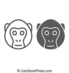 Monkey line and glyph icon, animal and, simian sign vector graphics, a linear pattern on a white background, eps 10.
