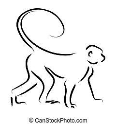Monkey Line Art Illustration In A Hand Drawn