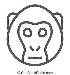 Monkey line icon, animal and, simian sign vector graphics, a linear pattern on a white background, eps 10.