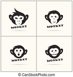 Monkey logo, monkey head icon, chimpanzee vector design.